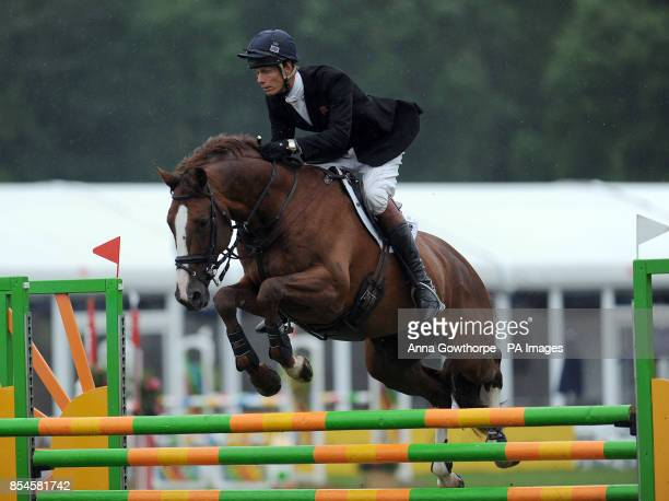 William FoxPitt riding Chilli Morning competes in the CIC3* show jumping event during the Bramham International Horse Trials at Bramham Park West...