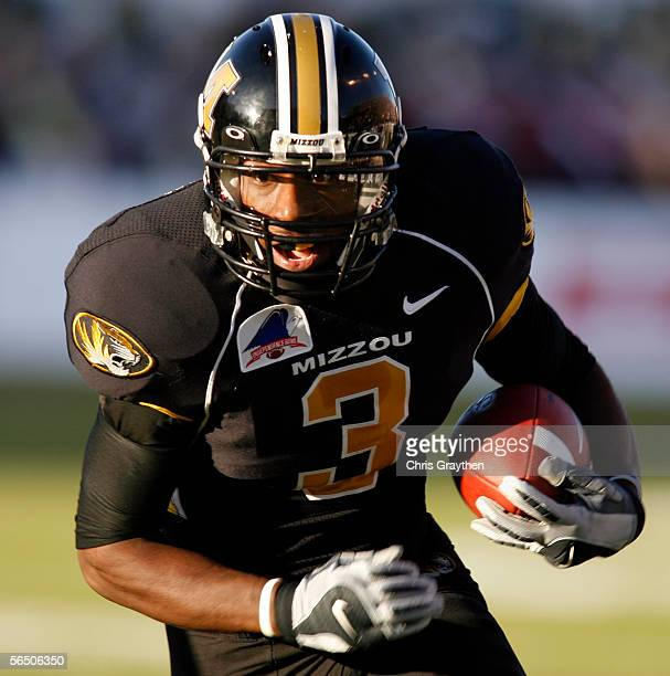 William Franklin of the Missouri Tigers runs for a first down after catching a pass against the South Carolina Gamecocks during the Independence Bowl...