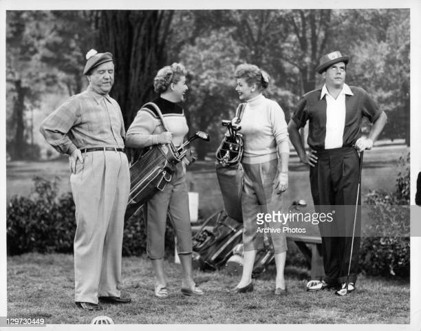 William Frawley, Vivian Vance, Lucille Ball, and Desi Arnaz out golfing in the television series 'I Love Lucy', 1951.