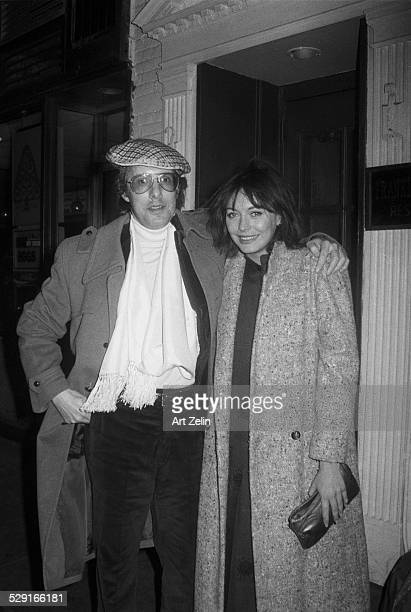 William Friedkin and LesleyAnne Down outside in a doorway circa 1970 New York