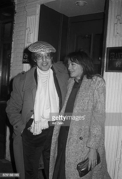 William Friedkin and Lesley-Anne Down outside in a doorway; circa 1970; New York.