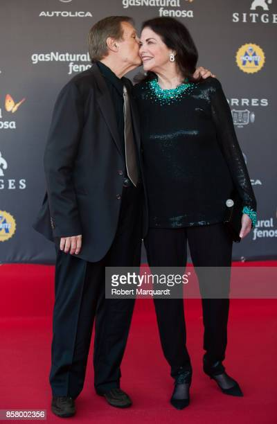 William Friedkin and Sherry Lansing pose on the red carpet at the Sitges Film Festival 2017 on October 5 2017 in Sitges Spain