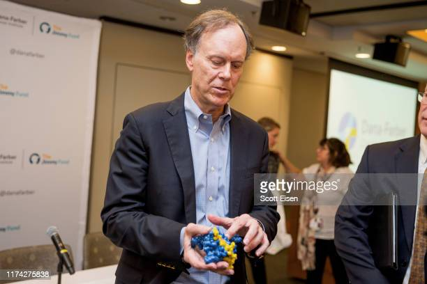 William G Kaelin Jr recipient of the 2019 Nobel Prize in Physiology or Medicine holds a 3D protein model at Dana Farber Cancer Institute on October 7...
