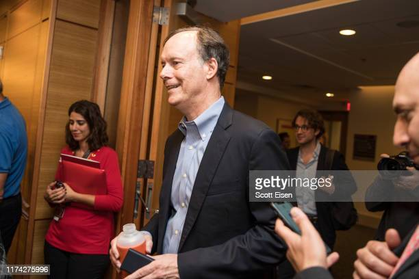 William G Kaelin Jr recipient of the 2019 Nobel Prize in Physiology or Medicine arrives to a press conference at Dana Farber Cancer Institute on...
