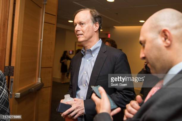 William G Kaelin Jr shared recipient of the 2019 Nobel Prize in Physiology or Medicine arrives to a press conference at Dana Farber Cancer Institute...