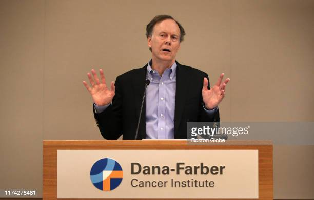 William G Kaelin Jr speaks during a press conference at the DanaFarber Cancer Institute in Boston on Oct 7 2019 Kaelin was awarded the Nobel Prize...
