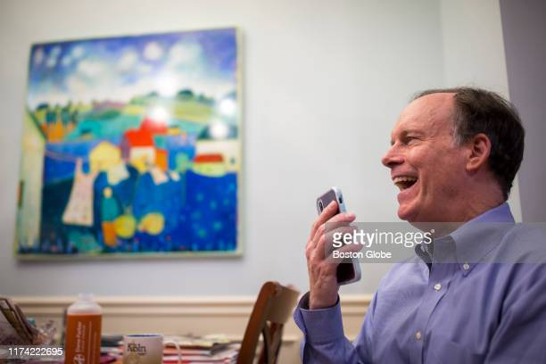 William G Kaelin Jr talks on the phone with New York Times reporter Gina Kolata in Boston on Oct 7 2019 Kaelin was awarded the Nobel Prize for...