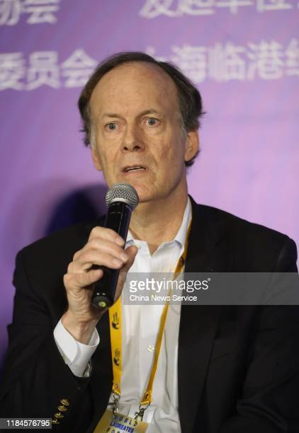 William G Kaelin Jr winner of the 2019 Nobel Prize in Physiology or Medicine speaks during the 2nd World Laureates Association Forum on October 30...