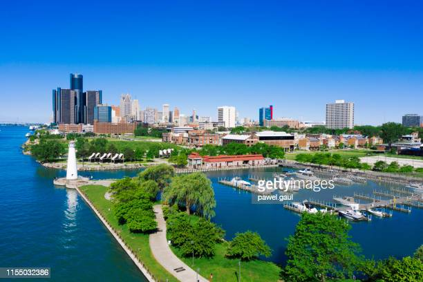 william g. milliken state park and harbor detroit michigan aerial view - detroit river stock pictures, royalty-free photos & images
