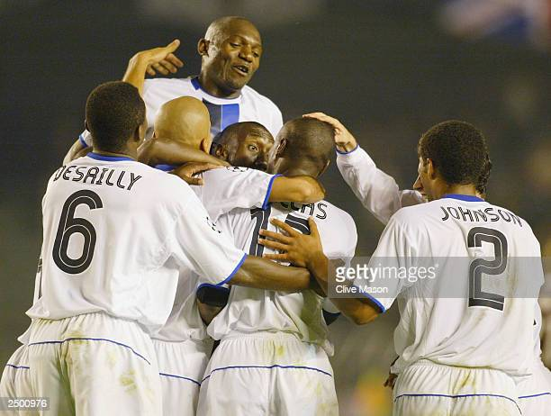 William Gallas of Chelsea is mobbed by his teammates after he scores their winning goal in the last few minutes of the game during the UEFA Champions...