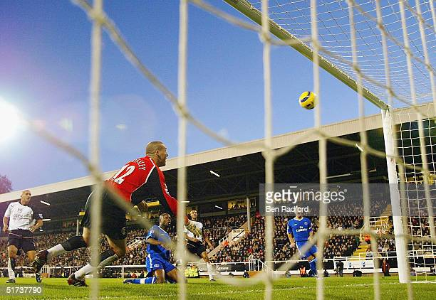 William Gallas of Chelsea scores as Fulham goalkeeper Mark Crossley watches during the Barclays Premiership match between Fulham and Chelsea on...