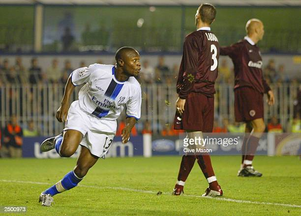 William Gallas of Chelsea starts to celebrate after he scores their winning goal in the last few minutes of the game during the UEFA Champions League...