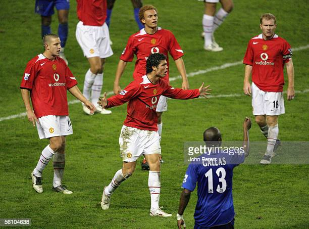 William Gallas of Chelsea tells the referee to book Cristiano Ronaldo of Manchester United during the Barclays Premiership match between Manchester...