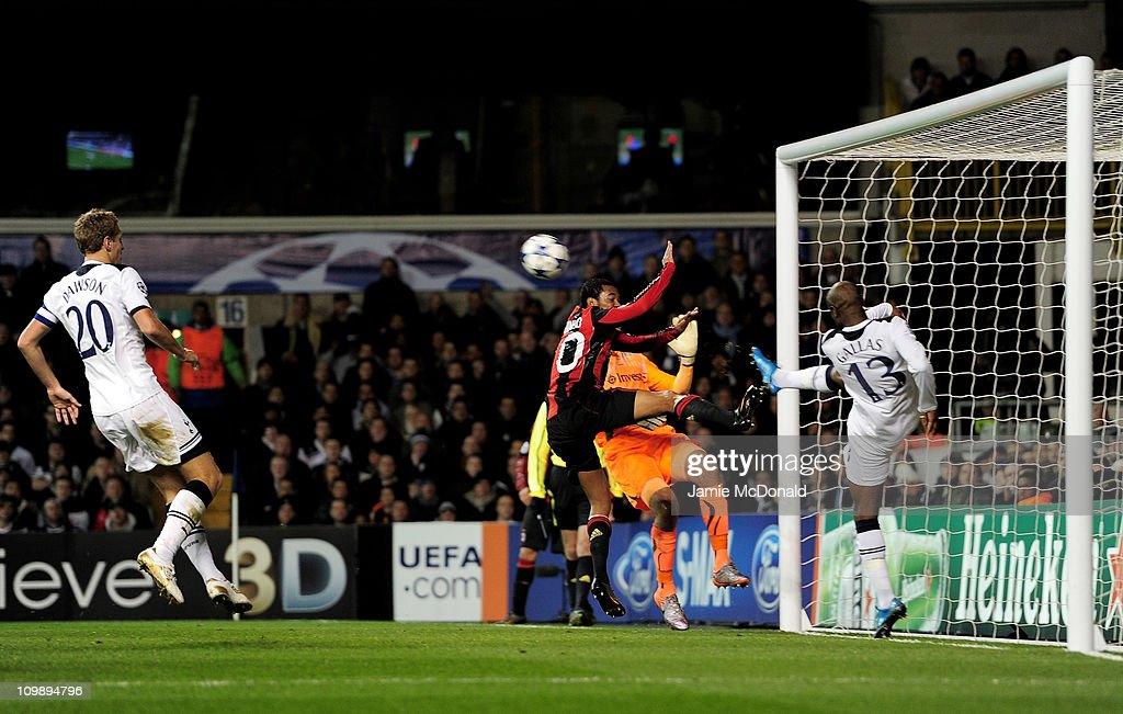 William Gallas (R) of Tottenham clears the effort of Robinho (3R) of Milan off the line during the UEFA Champions League round of 16 second leg match between Tottenham Hotspur and AC Milan at White Hart Lane on March 9, 2011 in London, England.