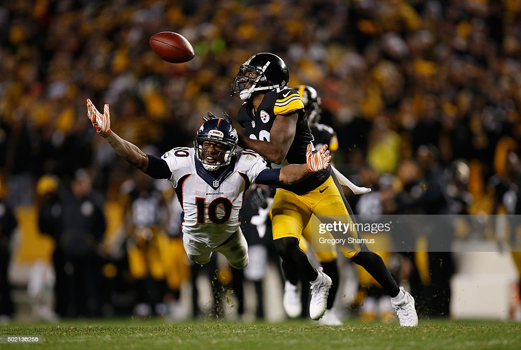 William Gay #22 of the Pittsburgh Steelers blocks a pass to Emmanuel Sanders #10 of the Denver Broncos in the fourth quarter of the game at Heinz Field on December 20, 2015 in Pittsburgh, Pennsylvania.