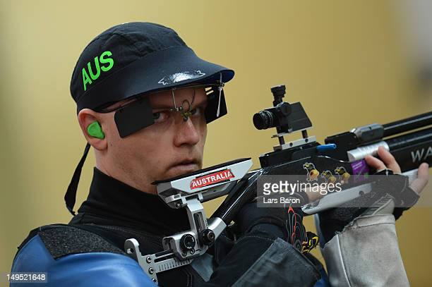 William Goodward of Australia competes in the Men's 10m Air Rifle qualification on Day 3 of the London 2012 Olympic Games at The Royal Artillery...