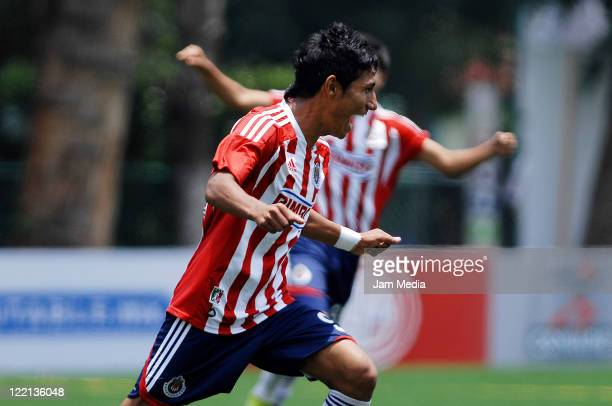 William Guzman of Chivas celebrates a scored goal during a match against sao Paulo as part of the Copa Independencia SUB 17 2011 at the Coapa on...