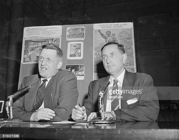 William H. Hinton, left, of Putney, Vermont, is shown with his attorney, Milton Friedman, Washington, DC, as he testified yesterday before a Senate...