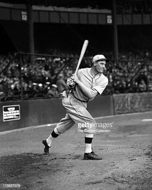 William H Lamar of the Philadelphia Athletics swinging a bat in 1927