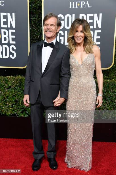 William H Macy and Felicity Huffman attend the 76th Annual Golden Globe Awards at The Beverly Hilton Hotel on January 6 2019 in Beverly Hills...