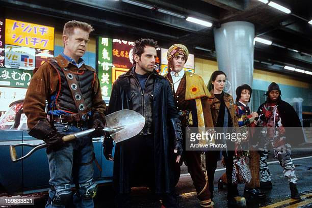 William H Macy Ben Stiller Hank Azaria Janeane Garofalo and others in a scene from the film 'Mystery Men' 1999