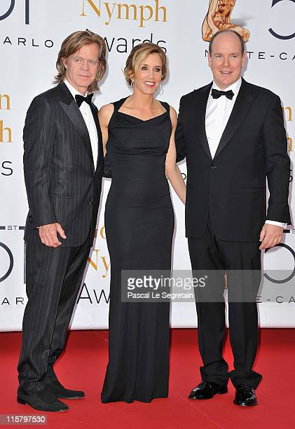 William H. Macy, Felicity Huffman and Prince Albert II of Monaco arrive at the closing ceremony of the 51st Monte Carlo TV Festival at the Grimaldi...