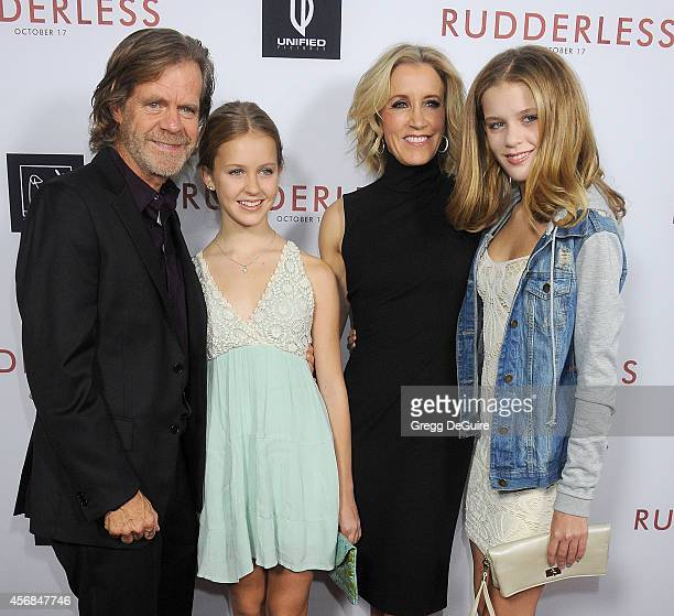 William H Macy Georgia Grace Macy Felicity Huffman and Sophia Grace Macy arrive at the Los Angeles VIP Screening of Rudderless at the Vista Theatre...