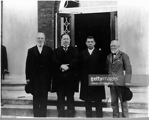 William H Taft Booker T Washington Andrew Carnegie and RC Ogden at the 25th anniversary of the Tuskegee Institute 1906