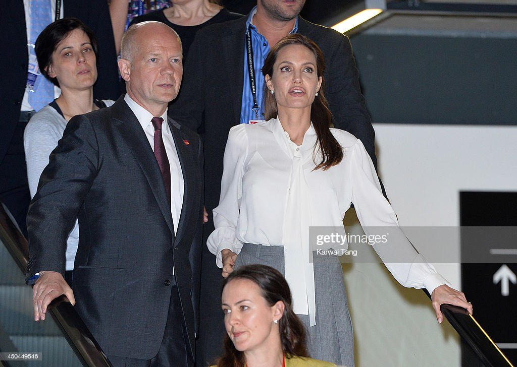 William Hague and Angelina Jolie attend a special screening of 'The Land of Blood and Honey' during the Global Summit to end Sexual Violence in Conflict at ExCel on June 11, 2014 in London, England.