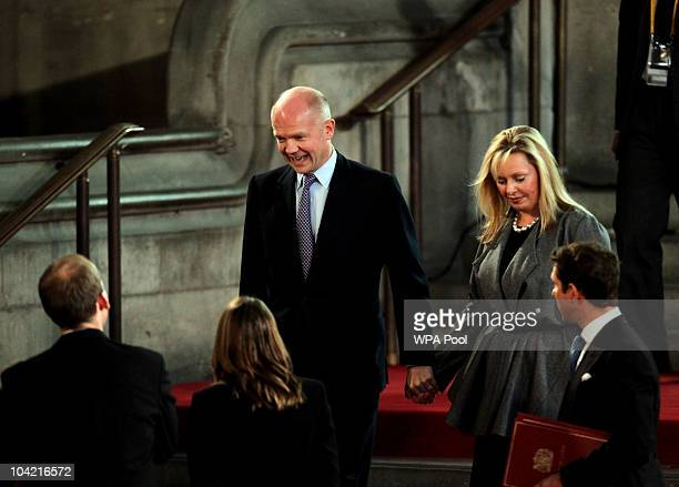 William Hague arrives with his wife Ffion as they wait for the arrival of Pope Benedict XVI at Westminster Hall on September 17, 2010 in London,...