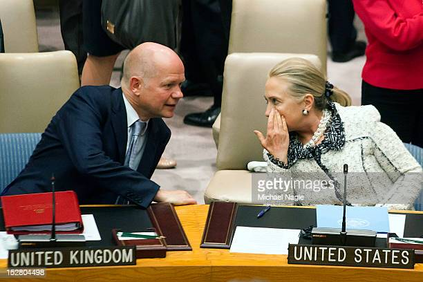 William Hague Foreign Secretary of the United Kingdom talks with US Secretary of State Hillary Clinton during a United Nations Security Council...