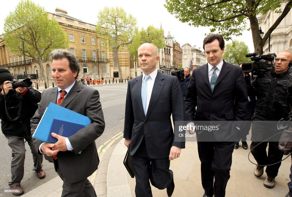 William Hague (C), the Conservatives Shadow Foreign Secretary, George Osborne (R), the Shadow Chancellor, and Oliver Letwin, Chairman of the Policy Review, (L) arrive at the Cabinet Office to hold talks with a team of senior figures from the Liberal Democrats with a bid to forming a coalition Government on May 11, 2010 in London, England. British Prime Minister Gordon Brown has announced that he is to stand down as Prime Minister and Labour Party leader, adding that negotiations with the Liberal Democrats are now taking place to try and form a coalition government. Meanwhile David Cameron said that it is decision time for the Liberal Democrats to choose which party to form a Government with.