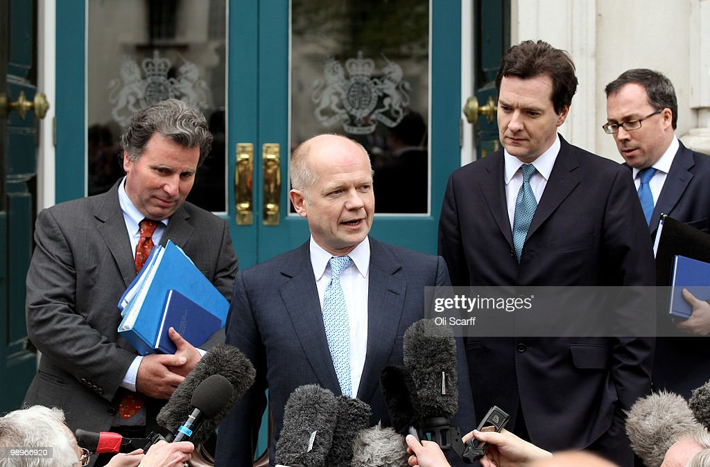 William Hague (C), the Conservatives Shadow Foreign Secretary, George Osborne (Second Right), the Shadow Chancellor, and Oliver Letwin (L), Chairman of the Policy Review, arrive at the Cabinet Office to hold talks with a team of senior figures from the Liberal Democrats with a bid to forming a coalition Government on May 11, 2010 in London, England. British Prime Minister Gordon Brown has announced that he is to stand down as Prime Minister and Labour Party leader, adding that negotiations with the Liberal Democrats are now taking place to try and form a coalition government. Meanwhile Conservative Party Leader David Cameron has said it is decision time for the Liberal Democrats to choose which party to form a Government with.