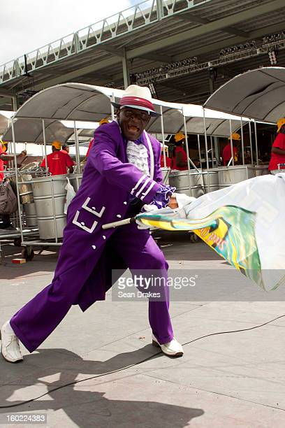 William Hamilton performs as the flagman for Steel Xplosion steelband at Panorama semifinals at Queen's Park Savannah in Port of Spain Trinidad and...