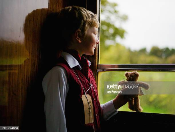 William Hardy from Wigton dressed as an evacuee looks out of the window during the North Yorkshire Moors Railway 1940's Wartime Weekend event on...