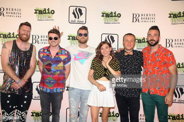 William Hehir, Marc Campbell, Etienne Bowler, Mandy Lee, Jesse Blum and Mike Murphy of MisterWives pose at the Radio 104.5 Birthday Celebration Day 1...