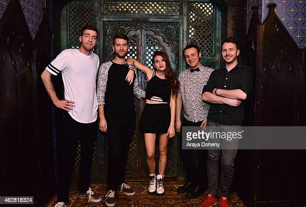 William Hehir, Marc Campbell, Mandy Lee, Etienne Bowler and Dr. Blum of the band MisterWives pose backstage during MTV Artists to Watch at House of...