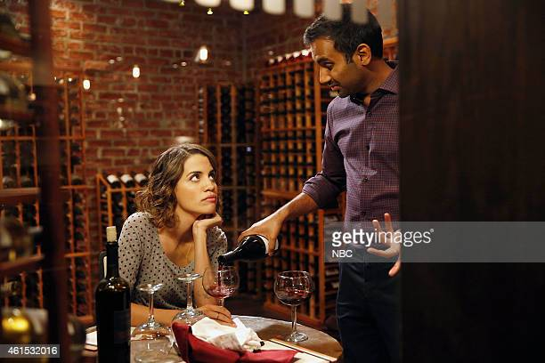 RECREATION William Henry Harrison Episode 705 Pictured Natalie Morales as Lucy Aziz Ansari as Tom Haverford