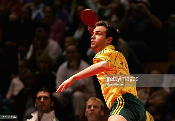 William Henzell of Australia is in action during his Men's Team match against Jonathan Cowan of Northern Ireland at the Melbourne Sports Aquatic...