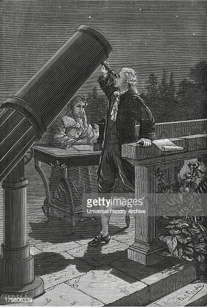 William Herschel discovering Uranus in 1781. His sister Caroline taking notes.