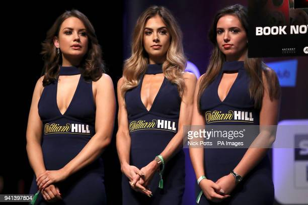William HIll girls during the weigh in at the Motorpoint Arena Cardiff