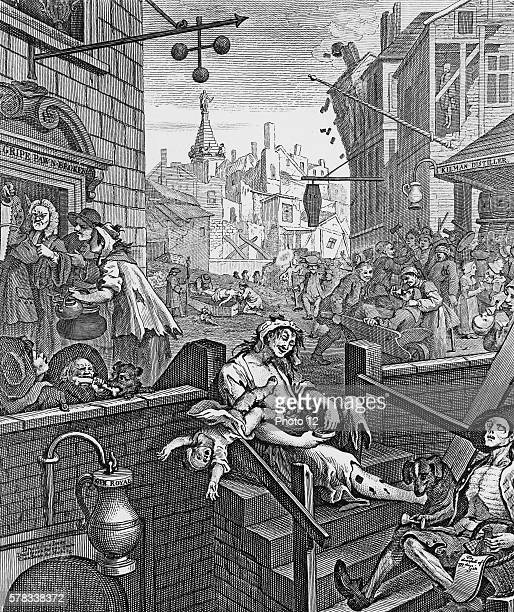William Hogarth English school 'Gin Lane' Scene that depict the evils of the consumption of gin as a contrast to the merits of drinking beer 1751...