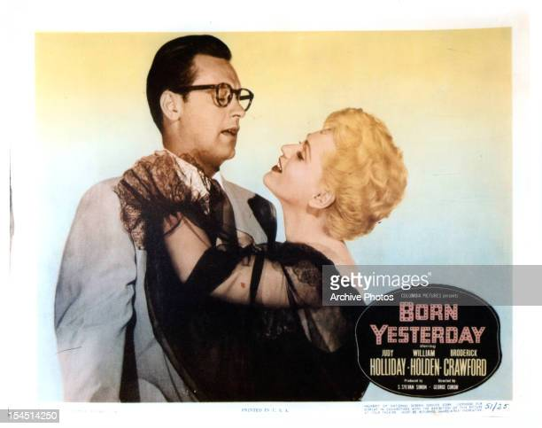William Holden and Judy Holliday in a promotional portrait for the film 'Born Yesterday' 1950