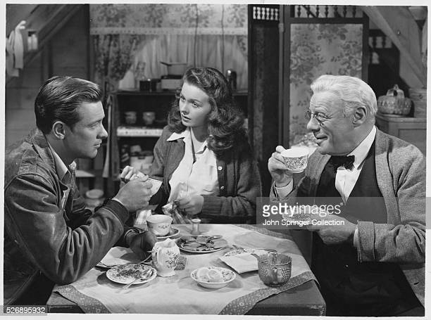 William Holden as Jason Jeanne Crain as Peggy and Edmund Gwenn as Professor Henry Barnes in the 1948 film Apartment for Peggy