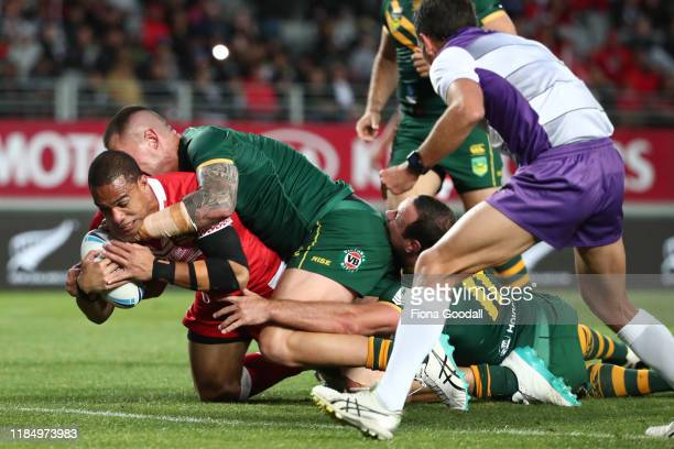 William Hopoate of Tonga scores a try during the Rugby League International Test match between the Australia Kangaroos and Tonga at Eden Park on...