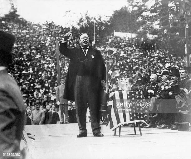 William Howard Taft twentyseventh President of the United States from 19091913 is seen here making a campaign address Undated ca 1910s