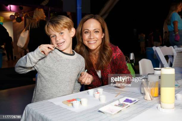 William Hudson Goodell and Nikki DeLoach attend PS ARTS Express Yourself 2019 at The Barker Hanger on September 28 2019 in Santa Monica California