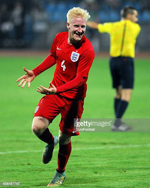 William Hughes of England celebrates during the UEFA U21 Championship Playoff Second Leg match between Croatia and England at the Stadion Hnk Cibalia...