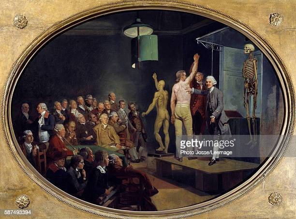 William Hunter , Scottish physician, teaching anatomy at the Royal Academy. Painting by Johann Zoffany , English School, 1772. Private Collection