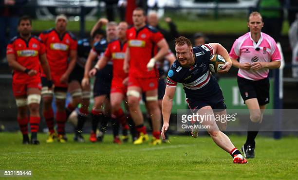 William Hurrell of Doncaster Knights goes over to score a try during the Greene King IPA Championship play off final, first leg match between...
